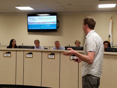 Tyler Wilson explains his research project at the Oct. 21 Board of Trustees meeting. Wilson is st...